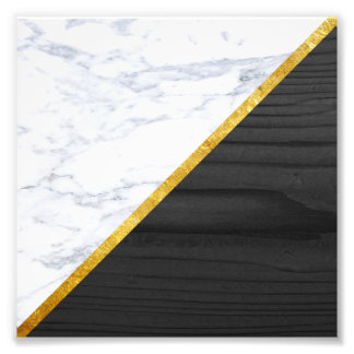 White Marble Gold and Black Wood Photo Print