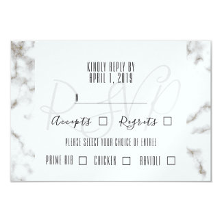 White Marble & Gold Glitter Accent Wedding RSVP Card