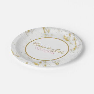 White Marble Gold Glitter- Save The Date Paper Plate
