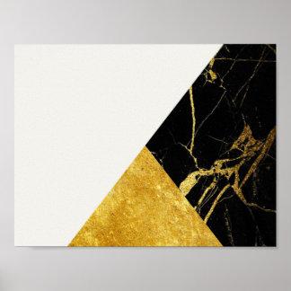 White Marble Gold Leaf Basic Poster