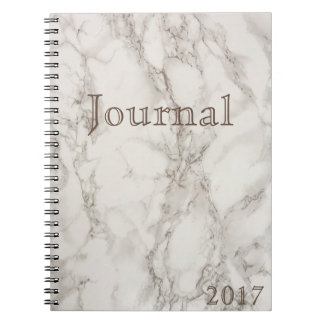 White Marble Journal Date Notebook