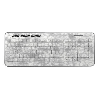 White Marble Look Mottled Pattern Add Your Name Wireless Keyboard