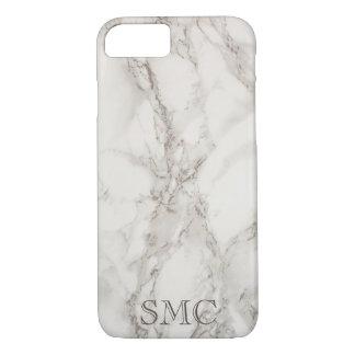 White Marble Monogram iphone Case