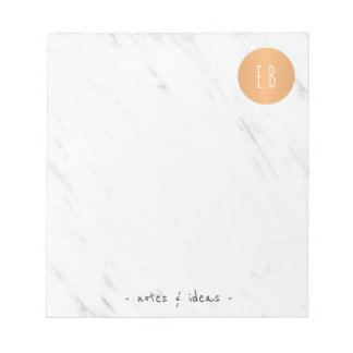 White marble monogrammed copper circle classy notepad
