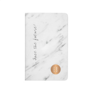 White marble monogrammed copper circle quote journal