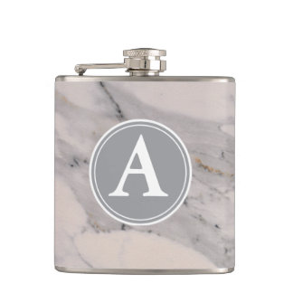 White Marble -monogrammed Flask