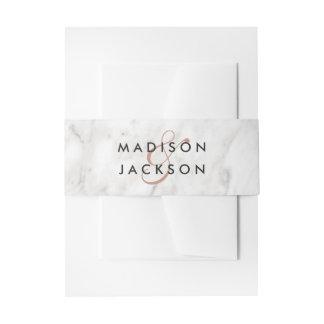 White Marble & Rose Gold Elegant Wedding Monogram Invitation Belly Band