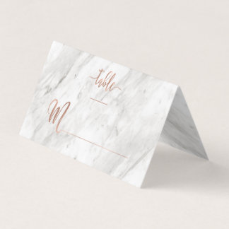 White Marble & Rose Gold Modern Table Number Place Card