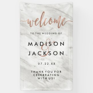 White Marble & Rose Gold Modern Wedding Welcome Banner