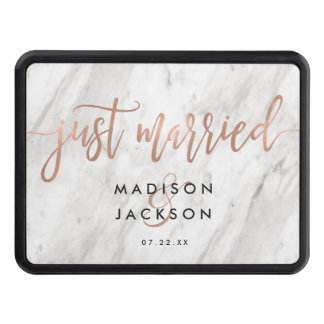 White Marble & Rose Gold Wedding Just Married Trailer Hitch Cover
