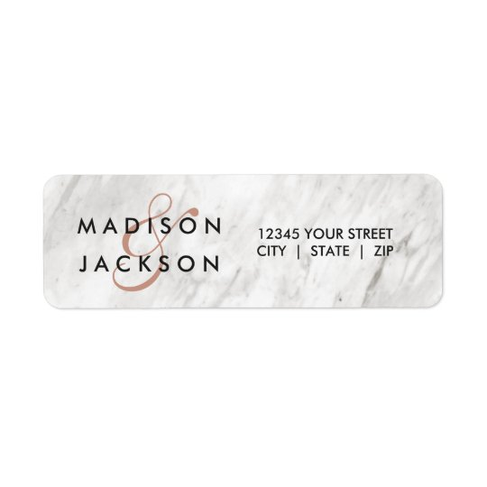 White Marble & Rose Gold Wedding Return Address