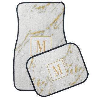 White Marble Stone And Gold Glitter Car Mat