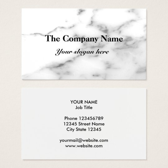White marble stone background business card design