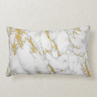 White Marble Stone Gild Accent Lumbar Pillow
