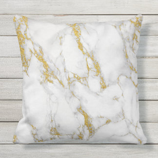 White Marble Stone Gold Glitter Accent Throw Pillow