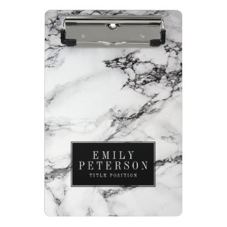White Marble Stone With Black Background Mini Clipboard