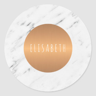 White marble stone with copper circle your name classic round sticker