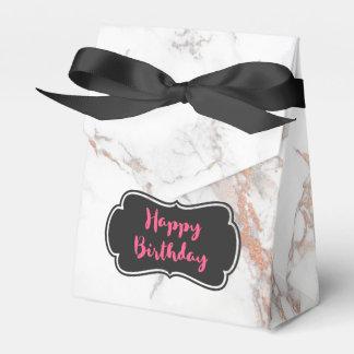 White Marble Texture Happy Birthday Favor Box
