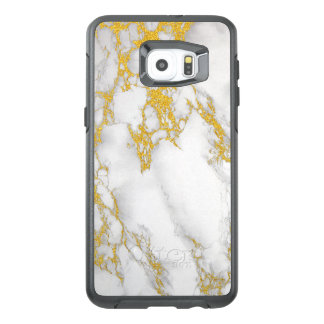 White Marble Texture Print Gold Accent