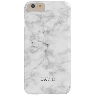 White Marble Texture With Custom Name Barely There iPhone 6 Plus Case
