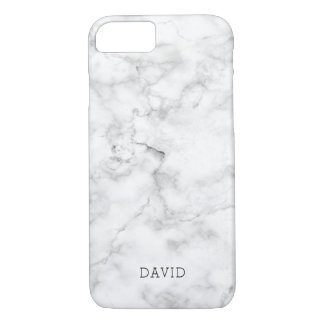 White Marble Texture With Custom Name Case-Mate iPhone Case