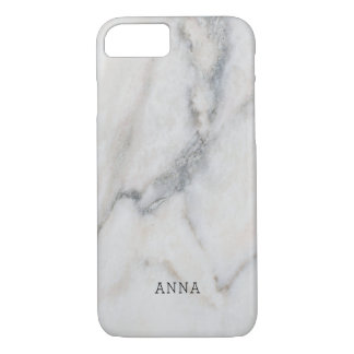 White Marble Texture With Custom Name iPhone 8/7 Case