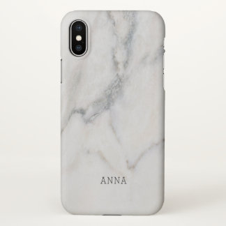 White Marble Texture With Custom Name iPhone X Case