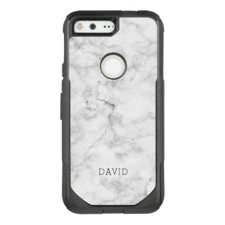White Marble Texture With Custom Name OtterBox Commuter Google Pixel Case