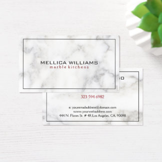 White Marble Ting Black Border Business Card