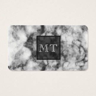 White Marble UPSCALE BLACK Monogram Initials LUXE Business Card