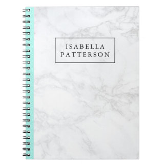 White Marble with Aqua Blue Accent Personalized Notebook
