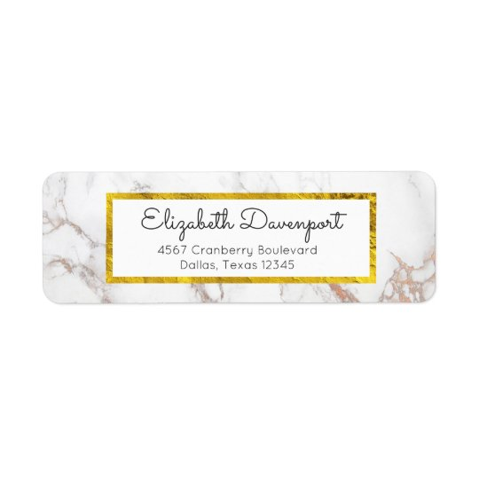 White Marble with Faux Gold Foil Frame