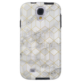 White Marble with Gold Cube Pattern