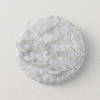 White Marble with Gold Cube Pattern 2 Inch Round Button
