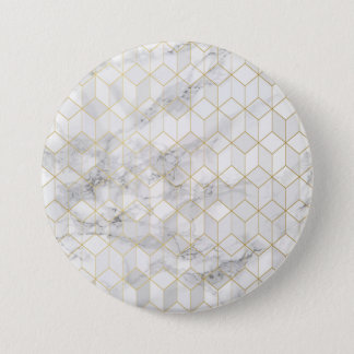 White Marble with Gold Cube Pattern 3 Inch Round Button