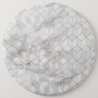 White Marble with Gold Cube Pattern 6 Inch Round Button