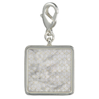 White Marble with Gold Cube Pattern Charm