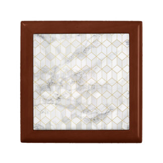 White Marble with Gold Cube Pattern Gift Box