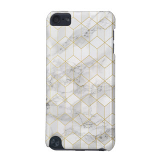 White Marble with Gold Cube Pattern iPod Touch (5th Generation) Cover
