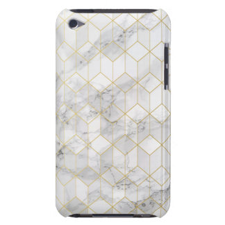 White Marble with Gold Cube Pattern iPod Touch Case