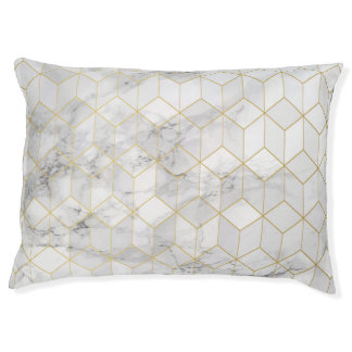 White Marble with Gold Cube Pattern Pet Bed