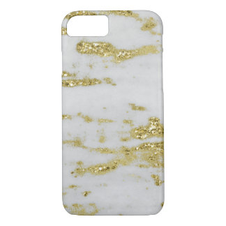 White Marble with Gold Sparkles iPhone Cases