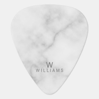 White Marble with Personalized Monogram and Name Guitar Pick