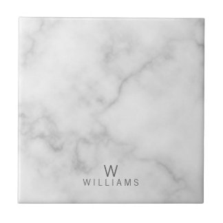 White Marble with Personalized Monogram and Name Tile