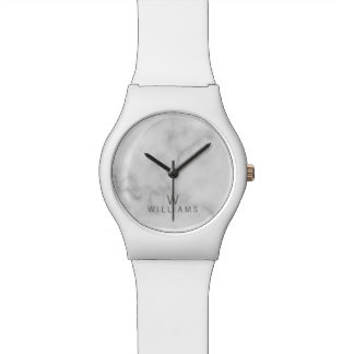 White Marble with Personalized Monogram and Name Watch