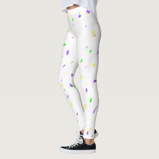 White Mardi Gras Confetti Leggings