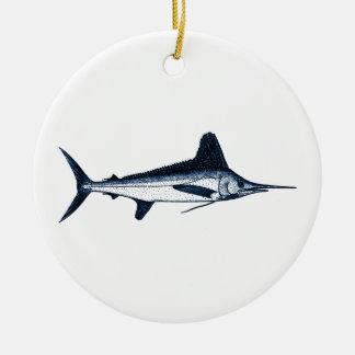 White Marlin Logo Ceramic Ornament