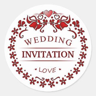 White & Maroon Red Deco Wedding Invitation Label Round Sticker