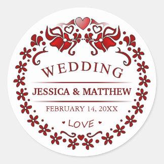 White & Maroon Red Deco Wedding Names Round Label Round Sticker