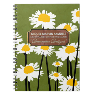 White Meadow Blossoms Decor Green Modern Notebook